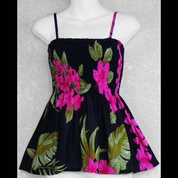 Orchid and Hibiscus Baby Doll Convertible Top/Skirt-Tops-Peaceful People