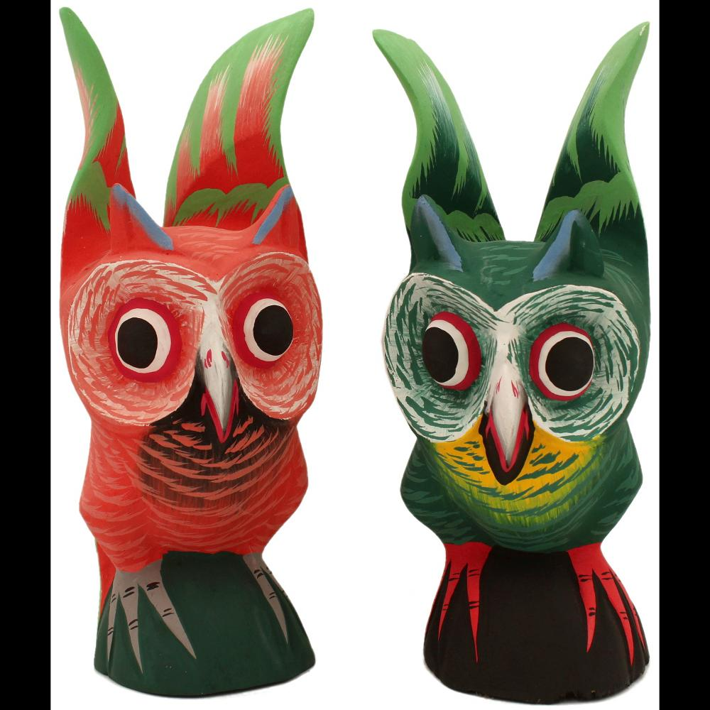 Carved Wooden Owl Figurines-Handicrafts-Peaceful People