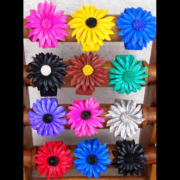 12 Leather Large Flower Cuff Bracelets ($0.95 each)-Bracelets & Jewelry-Peaceful People