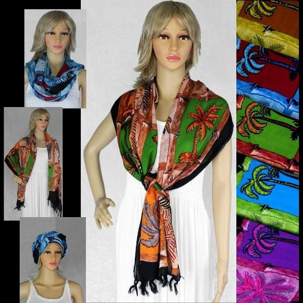 Palm Tree Scarf/Shawl-Sarongs-Peaceful People