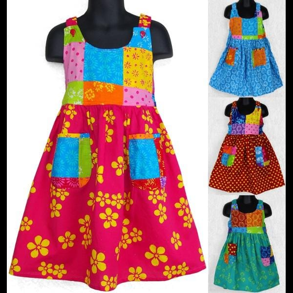 Sunny's Patchwork Dress (Ages:2, 4, 6)-Children's Clothes-Peaceful People