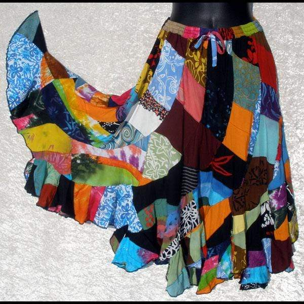 Patchwork Long Swirl Skirt-Skirts-Peaceful People