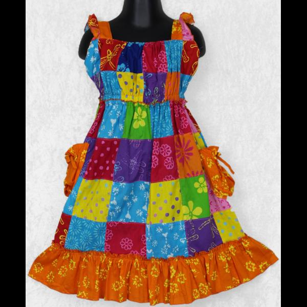 Harper's Patchwork Dress (Ages:2, 4, 6)-Dresses-Peaceful People