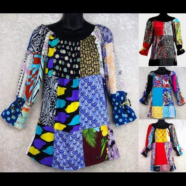 Patchwork Peasant Blouse-Tops-Peaceful People