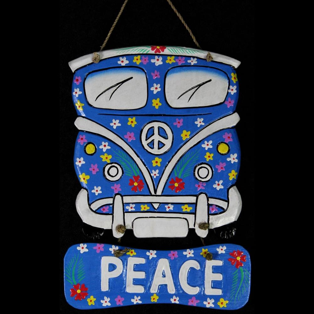 Peace Bus Wooden Wall Hanging-Handicrafts-Peaceful People