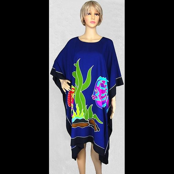 Hand-Painted Fish Poncho-Tops-Peaceful People