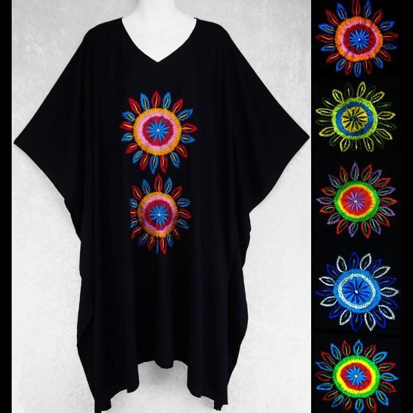 Tashi's Black Embroidered Poncho-Tops-Peaceful People