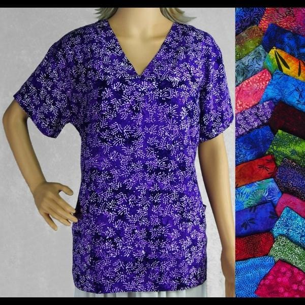 Premium Batik Women's Scrub Top-Tops-Peaceful People