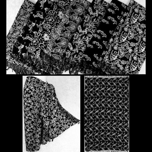 Premium Black & White Batik Extra-Large Sarongs-Sarongs-Peaceful People