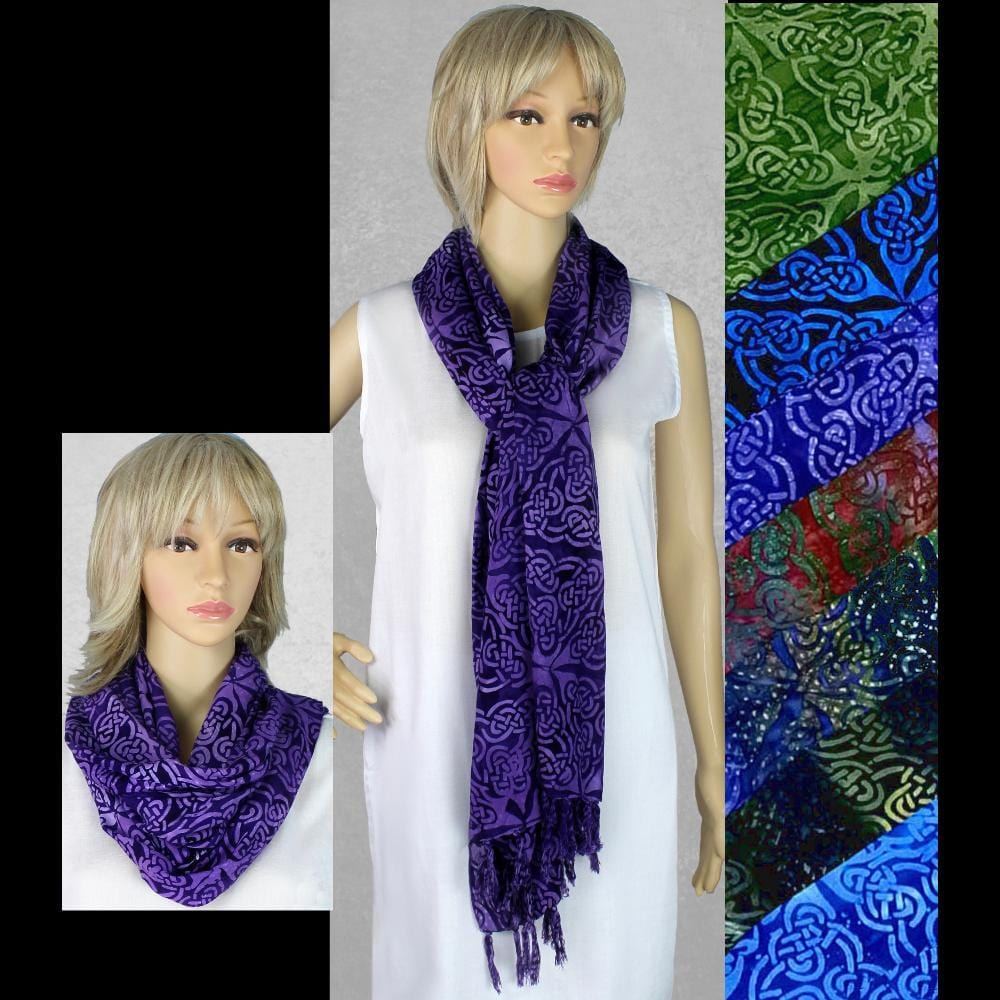 Premium Batik Celtic Wide Scarf/Shawl-Tie-Dye Blanks/White Clothing-Peaceful People