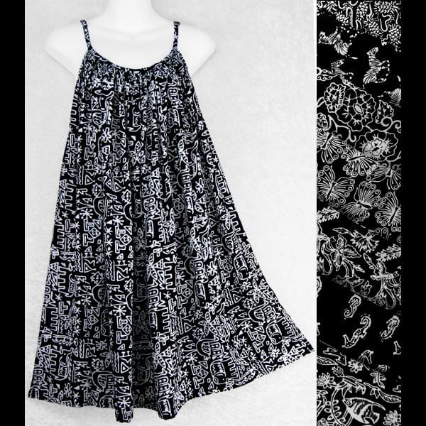 Black and White Premium Batik Parachute Dress-Dresses-Peaceful People