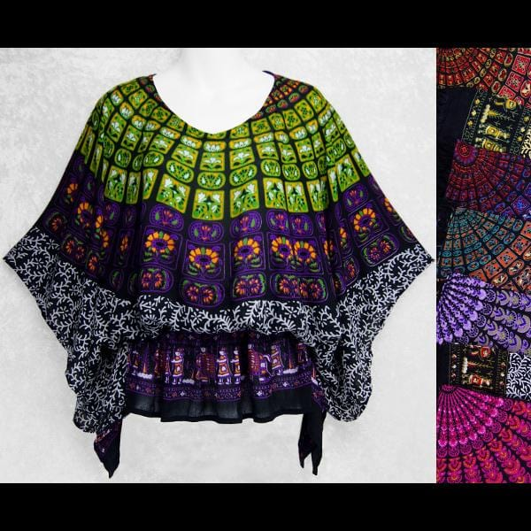 Primitive Mandala Butterfly Poncho Top-Tops-Peaceful People
