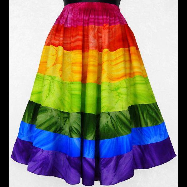 Rainbow Tie-Dye Tiered Skirt-Skirts-Peaceful People
