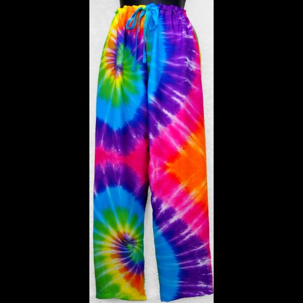 Rainbow Spiral Tie-Dye Drawstring Pants-Pants-Peaceful People