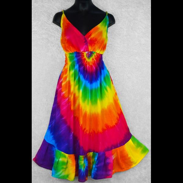 Rainbow Spiral Tie-Dye Star Dress-Dresses-Peaceful People