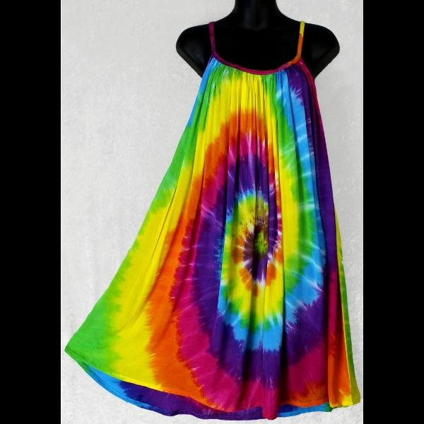 Rainbow Spiral Tie-Dye Parachute Dress-Dresses-Peaceful People