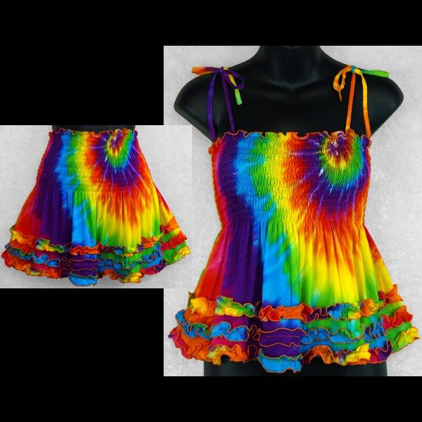 Luna's Rainbow Spiral Tie-Dye Ruffled Convertible Top/Skirt-Tops-Peaceful People