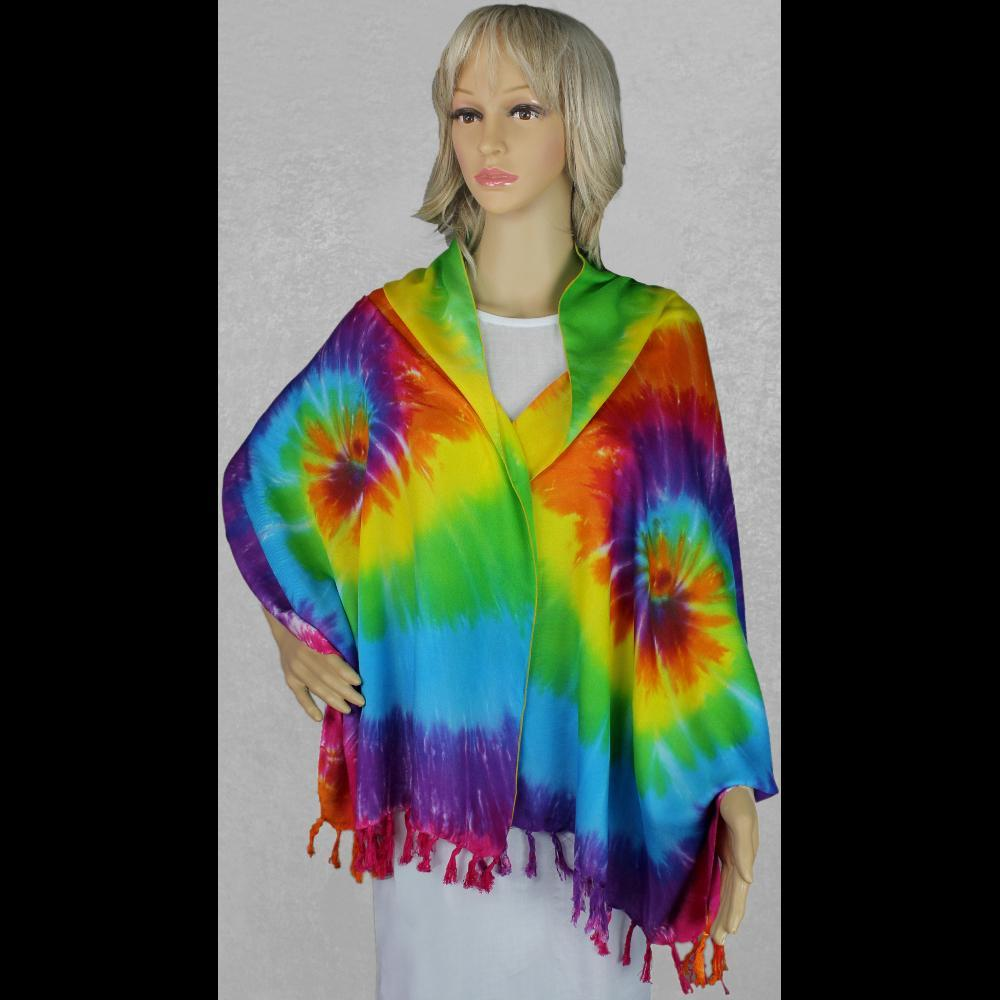 Rainbow Spiral Tie-Dye Wide Scarf/Shawl-Bags & Accessories-Peaceful People