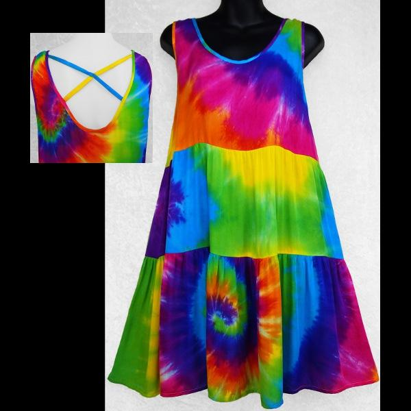 Rainbow Spiral Tie-Dye X-Back Sarong Dress-Dresses-Peaceful People