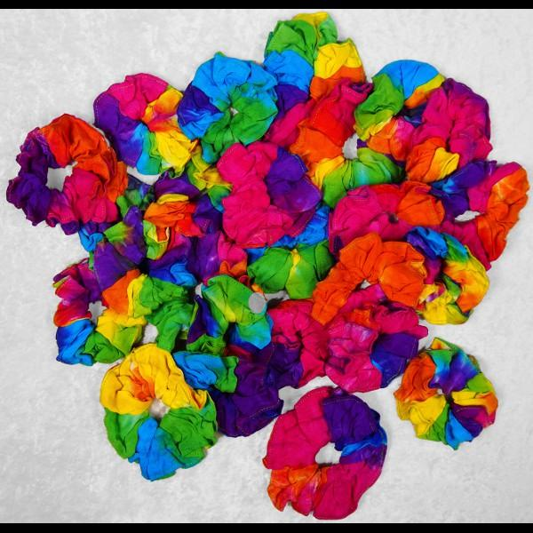 50 Assorted Rainbow Spiral Tie-Dye Hair Scrunchies ($0.65 each)-Bags & Accessories-Peaceful People