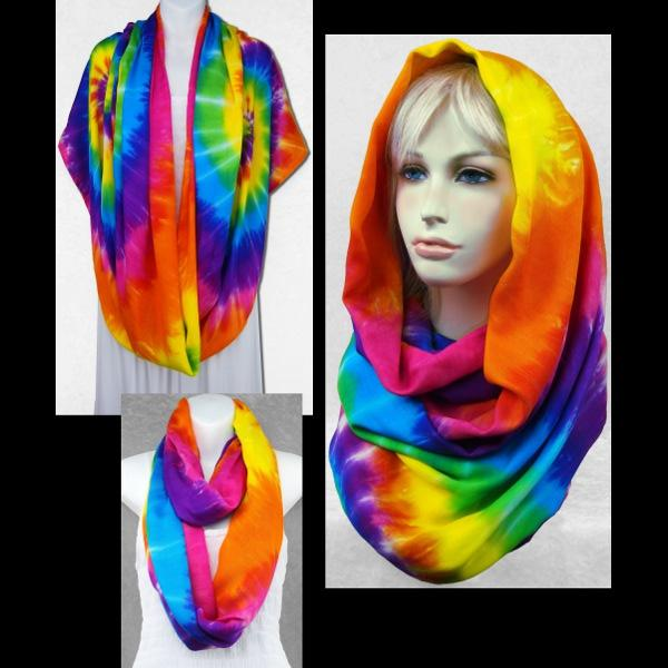 Rainbow Spiral Tie-Dye Infinity Scarf/Shawl-Bags & Accessories-Peaceful People