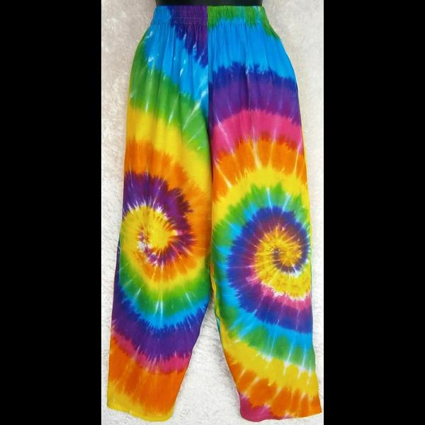 Rainbow Spiral Tie-Dye Pants-Pants-Peaceful People
