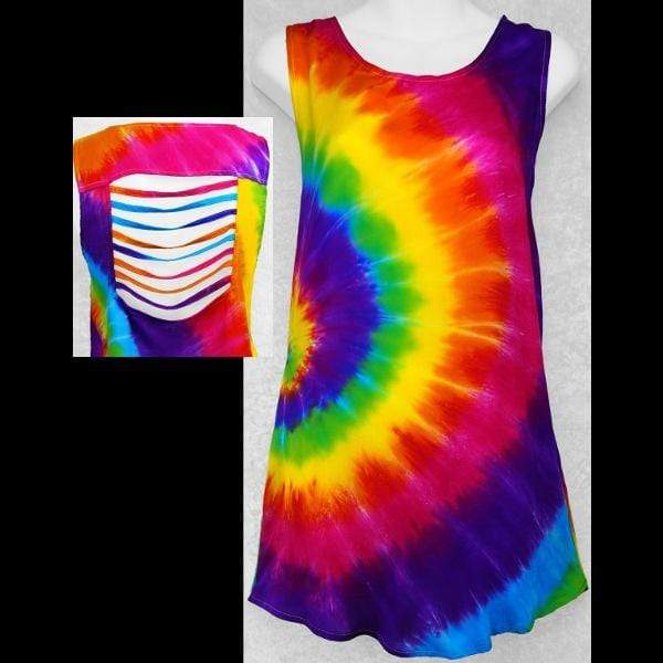 Rainbow Spiral Tie-Dye Shred Top-Sun Dresses-Peaceful People