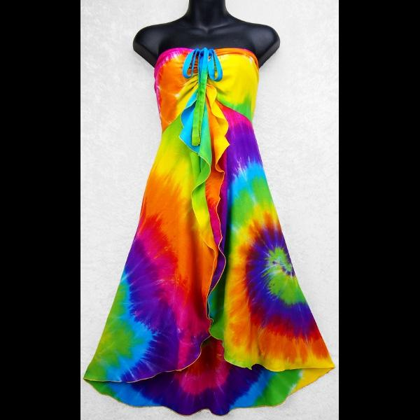 Gigi's Rainbow Spiral Tie-Dye Front Ruffle Sarong Dress-Dresses-Peaceful People