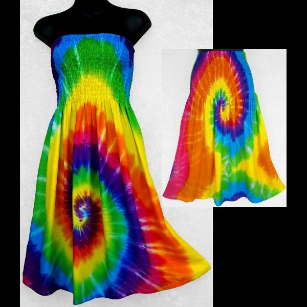 Rainbow Spiral Tube-Top Convertible Dress/Skirt-Dresses-Peaceful People