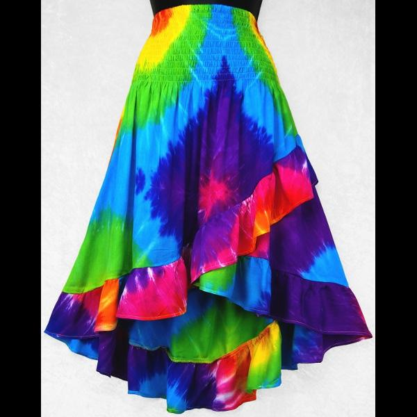 Rainbow Spiral Tie-Dye Ruffled Convertible Top/Skirt-Tops-Peaceful People