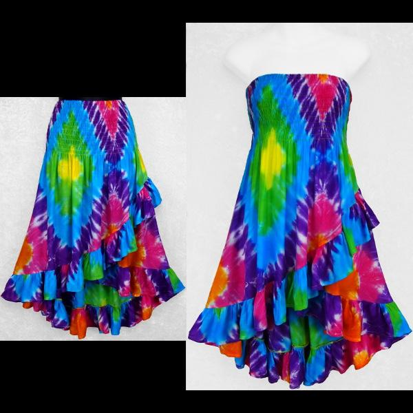 Diamond Tie-Dye Ruffled Convertible Top/Skirt-Tops-Peaceful People