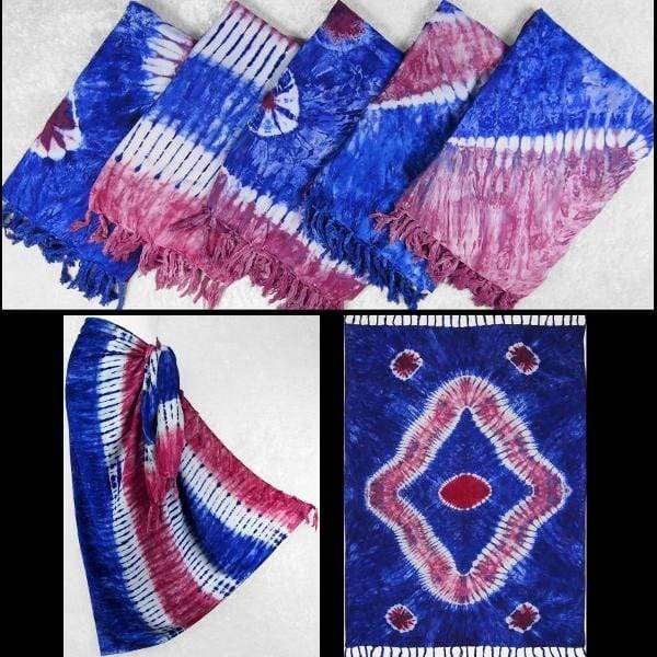 Red, White and Blue Tie-Dye Sarongs-Sarongs-Peaceful People
