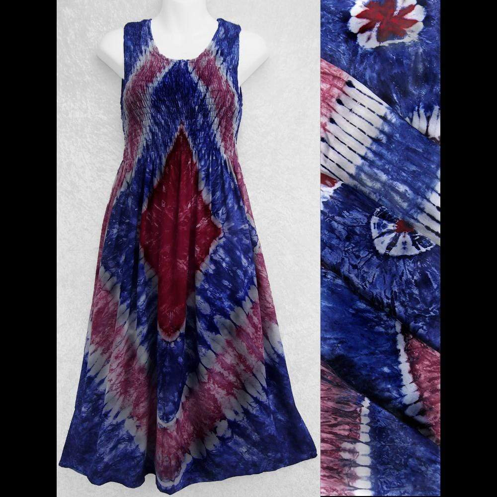 Red, White and Blue Tie-Dye Sarong Tank Dress-Dresses-Peaceful People