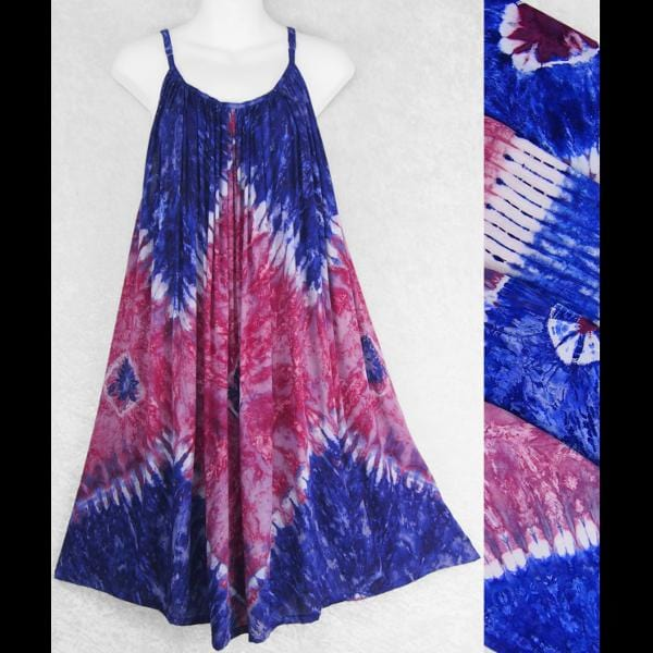 Red, White and Blue Tie-Dye Parachute Dress-Dresses-Peaceful People