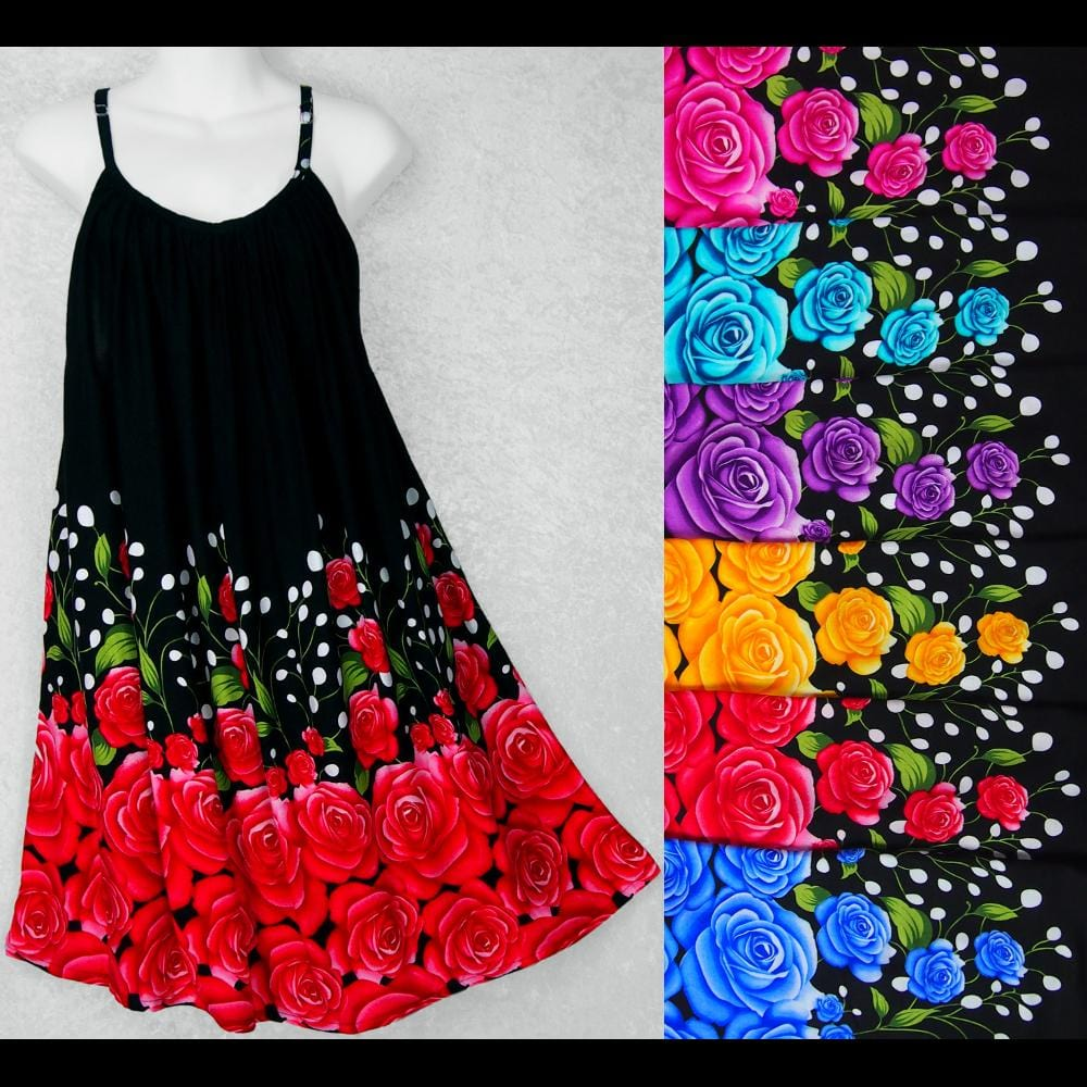 Night Rose Parachute Dress-Dresses-Peaceful People