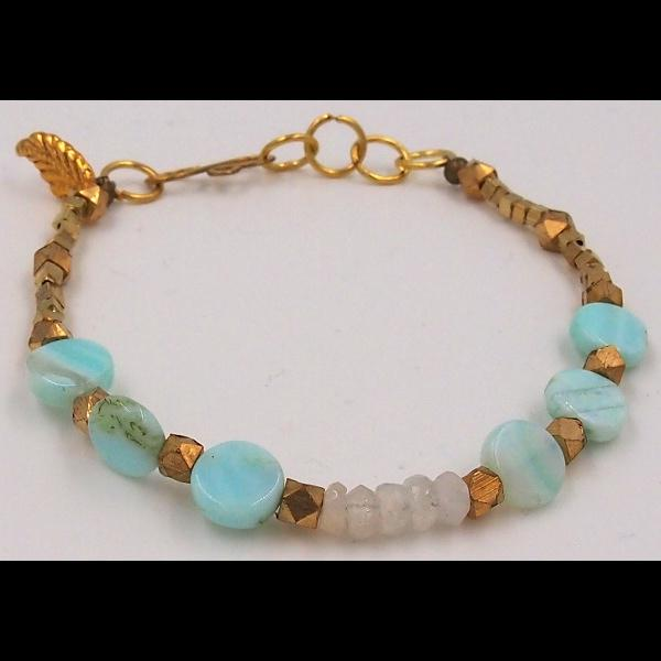 Hand Beaded Blue Opal Bracelet-Bracelets & Jewelry-Peaceful People