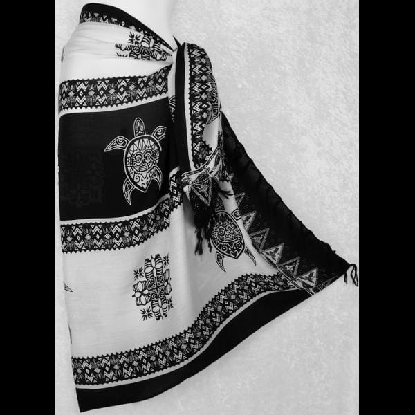 Black and White Tiki Turtle Sarongs-Sarongs-Peaceful People