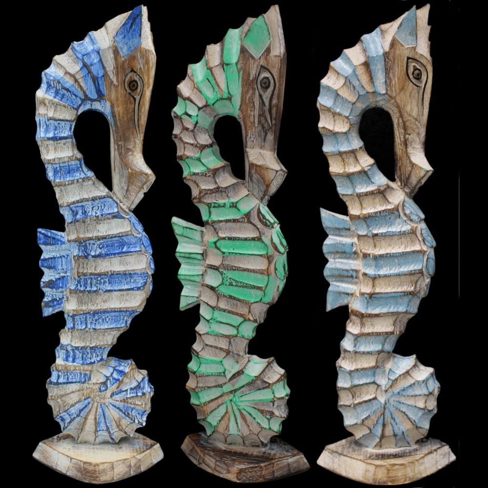 Carved Wooden Seahorse Figurines-Handicrafts-Peaceful People