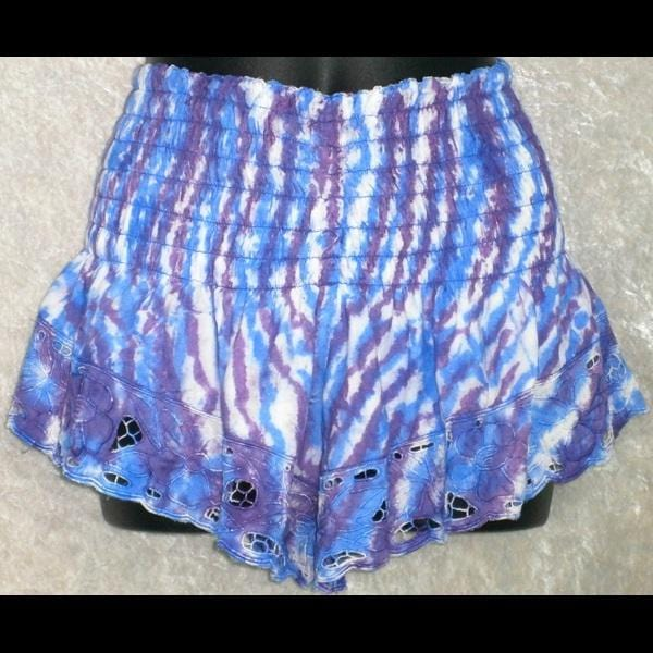 Daisy's Tie-Dyed Embroidered Shorts-Pants-Peaceful People