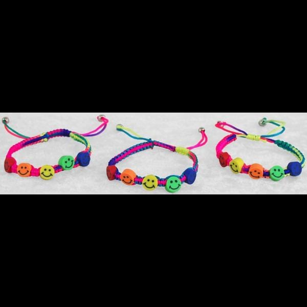 Smiley Face Rainbow Bracelets (DISPLAY PACKAGE)-Bracelets & Jewelry-Peaceful People