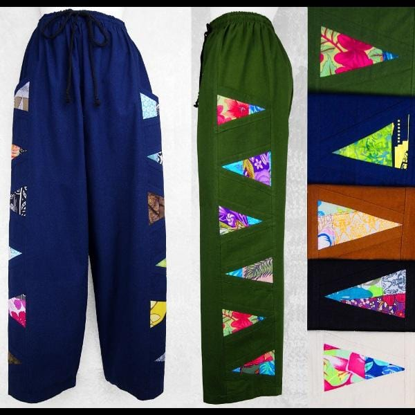 Solid Color Cotton Pants w/ Batik and/or Print Patches-Pants-Peaceful People