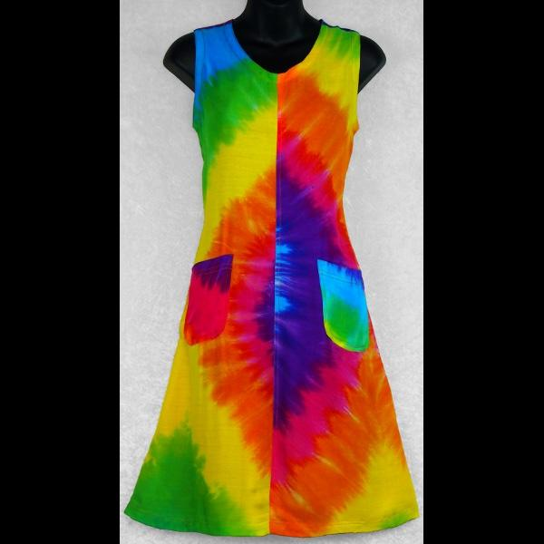 Rainbow Spiral Tie-Dye Tank Dress with Pockets-Dresses-Peaceful People