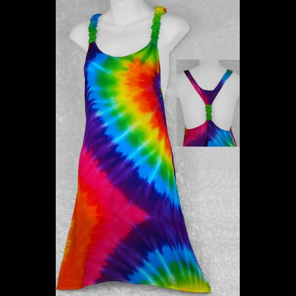 Rainbow Spiral Tie-Dye Adjustable Dress-Dresses-Peaceful People