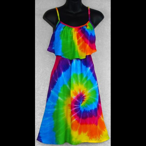 Rainbow Spiral Tie-Dye Moon Dress-Dresses-Peaceful People