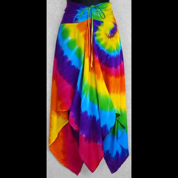 Rainbow Spiral Tie-Dye Convertible Top/Skirt-Tops-Peaceful People