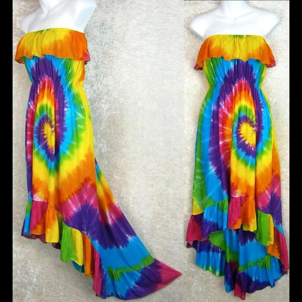 Rainbow Spiral Flamenco Dress-Dresses-Peaceful People