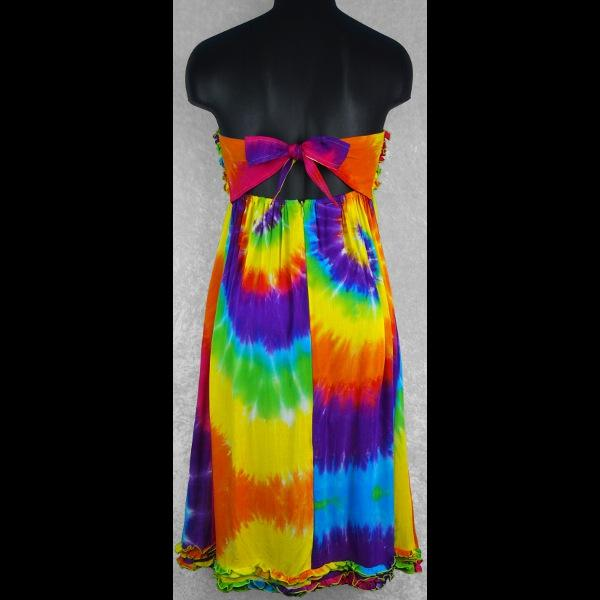 Rainbow Spiral Frilly Sarong Dress-Dresses-Peaceful People