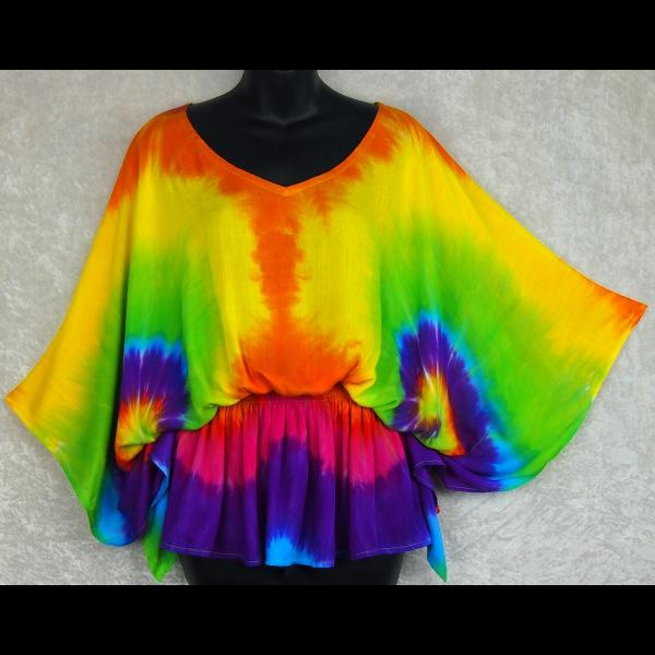 Rainbow Spiral Tie-Dye Butterfly Poncho Top-Tops-Peaceful People