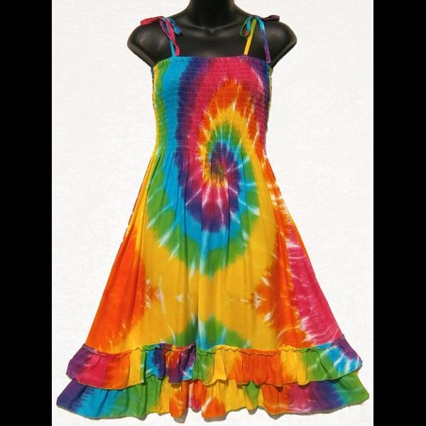 Rainbow Spiral Salsa Sarong Dress-Dresses-Peaceful People