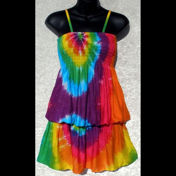 Rainbow Spiral Tie-Dye Elastic Waist Dress-Special Deals (reduced prices)-Peaceful People